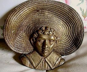 VeryUnusual 1920 Brass Ashtray Black Boy with Straw Hat