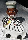 1950's Japan Lefton China Black Chef Nodder Spoon Rest