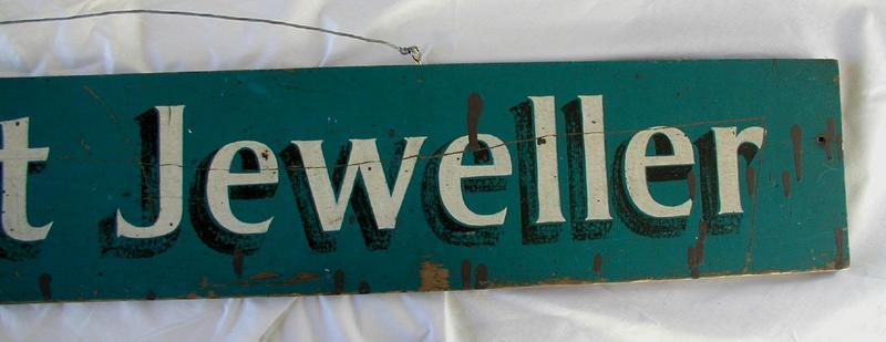 C1900 South Carolina Wooden Painted Jewelry Store Advertising Sign
