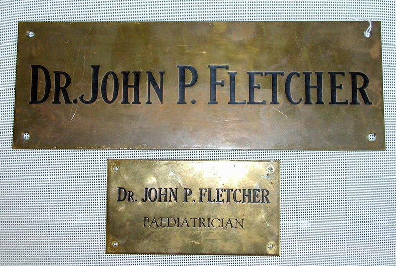 2 Vintage Dr John P. Fletcher Canadian Pediatrician Office Signs