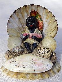 Fab 1920s Sea Shell Souvenir Black Boy with Watermelon