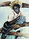C1910 Signed SHIRREFF Watercolor Black Boy Watermelon