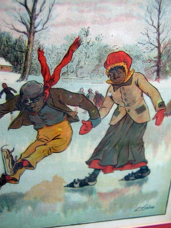 1907 Blake Lithograph Teaching Hannah Mariah To Skate