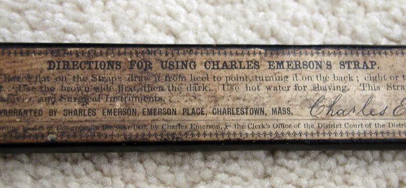 RARE 1863 Charles Emerson Barber Strap Charlestown MA