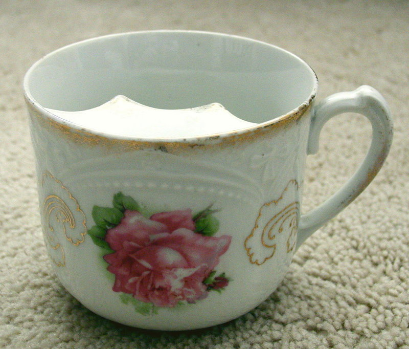 Lovely Ceramic Victorian Roses Mustache Shaving Mug Cup