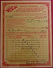 Framed 1948 IRS Pharmacy Drug Store Narcotic Form