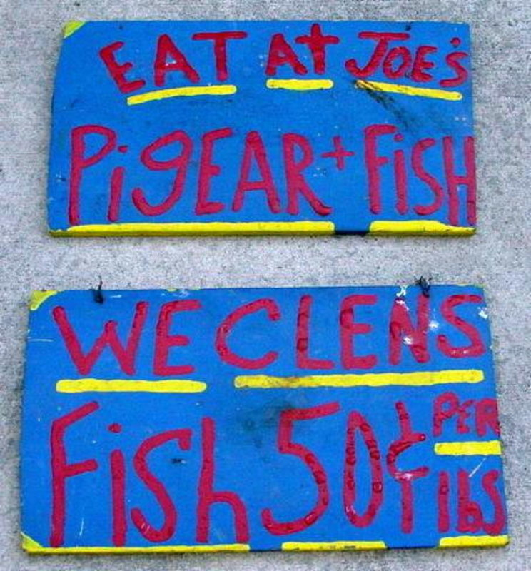 C1960s Outsider Art Black Memorabilia EAT AT JOES Signs