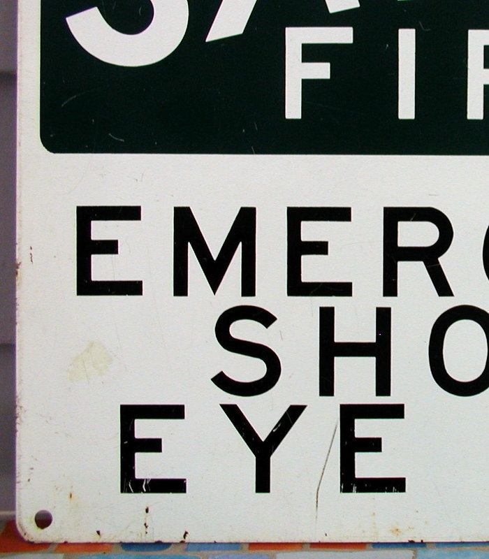 "C1950 Ptd Metal Laboratory ""SAFETY FIRST"" EYE Sign"