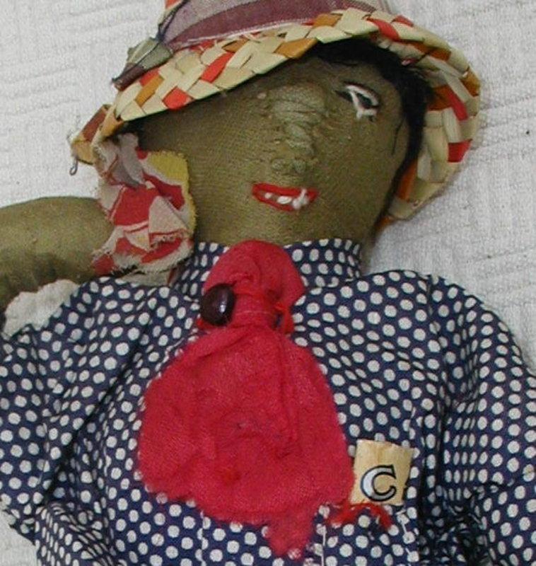 1930s Wonderfully Hand-Stitched Black Man Cloth Doll