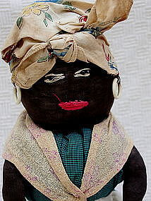 Fab 1930s Hand-Stitched Black Mammy Milk Bottle Doll