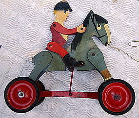 1920s Loros Bros England Wood Horse + Jockey Pull Toy
