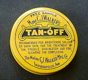 RARE C1920s Madam C J Walker TAN OFF Skin Lightener Tin
