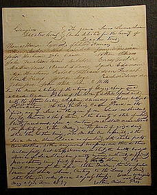 May 1837 Georgia Deed - Whipping Negro Slave w/o Cause