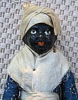 19thC Black Americana Papier Mache & Wood Mammy Doll