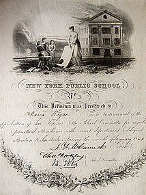 RARE 1840s NEW YORK Public School Student Merit Awards