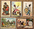 FAB Group of 5 1880-90's Black Memorabilia Trade Cards
