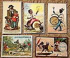 FAB Group of 5 1880-90's Black Memorabilia Trade Cards