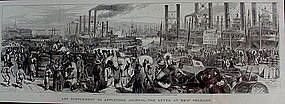 1869 New Orleans Lithograph River Dock Scene Slaves