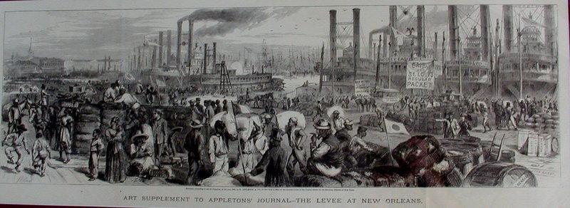 1869 New Orleans Lithograph River Dock Scene Slaves
