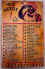 Wonderful 1940s Mammy WE NEEDS Wood Grocery Memo Board