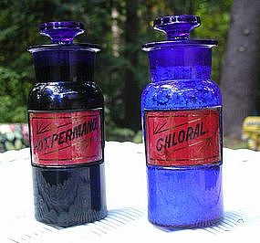 Exquisite 1890 Cobalt Blue Poison Apothecary Bottles