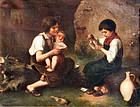 Children Playing Cards  (European School, 19th C.)