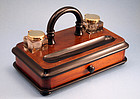 Antique English Ebonized Wood Inkstand