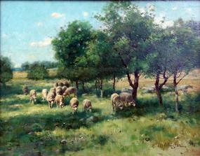 Sheep in a Pasture by Reuben LeGrande Johnston (Am.)