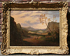 Travelers in an Extensive Mountain Valley Landscape