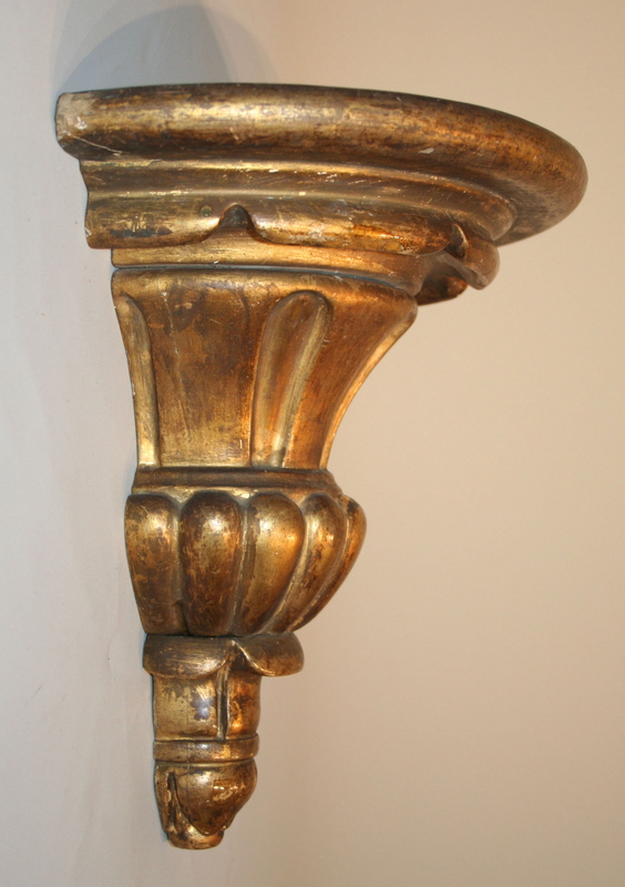 Antique Carved and Gilt Wood Wall Bracket
