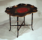 Small Antique Papier Mache Tray on Stand