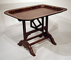 Antique English Brown Lacquer Tray on Stand