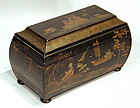 Antique Chinoiserie Decorated Tea Caddy