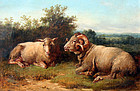 Pastoral Painting of a Ewe And Ram