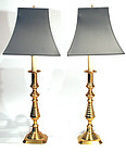Large Pair of Antique English Brass Candlestick Lamps