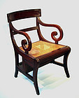 A  REGENCY  MAHOGANY  METAMORPHIC  LIBRARY  CHAIR