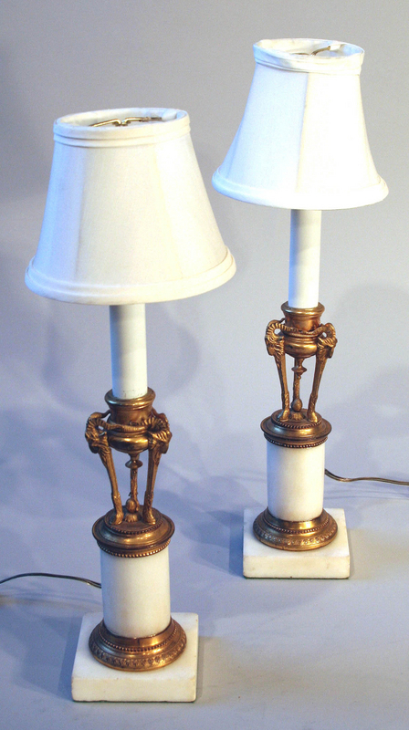 Fine  Pair of Antique French Ormolu and Marble Lamps