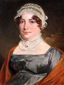 Charming English Portrait of a Woman in Lace Cap