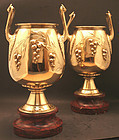 Fine Pair of Antique French Brass Urns