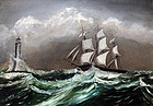 American Ship in High Seas Rounding a Point