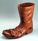 Antique Carved Wooden Boot and Mouse