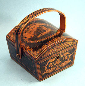 Small Antique Domed Top Penwork Sewing Box