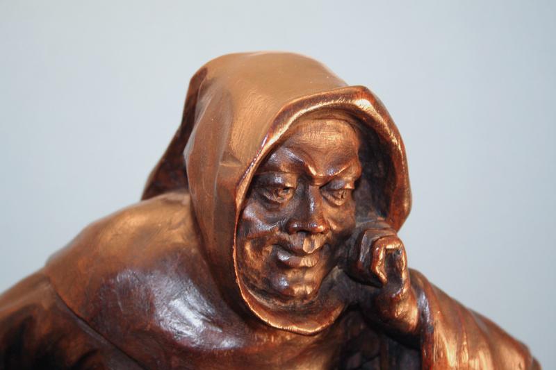 Antique Carved Oak Statue of a Monk