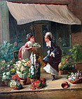 The Flower Seller, Painting by L. Souillard (French, 19th century)