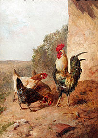 Chickens and Rooster by Federico Jiménez Fernandez