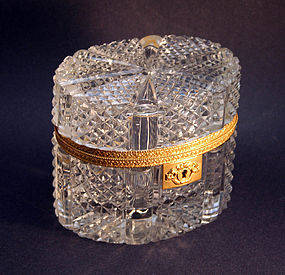 Antique Charles X Style Cut Crystal Box