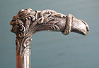Silver Walking Stick decorated with the Head of Medusa