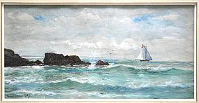 Edmond Darch Lewis   (American, 1835-1910), Watercolor, Schooner