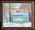 Winter Landscape Painting by August H.O. Rolle (American 1875-1941)
