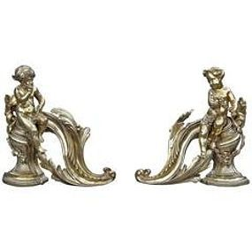 Pair of Antique French Gilt Bronze Fireplace Chenet or Andirons